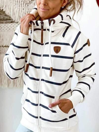 Fashion Stripe Long sleeve Hoodies Sweatshirts