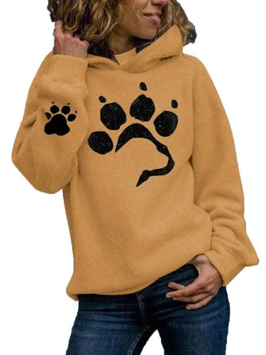 Fashion Paw print Long sleeve Hoodies Sweatshirts