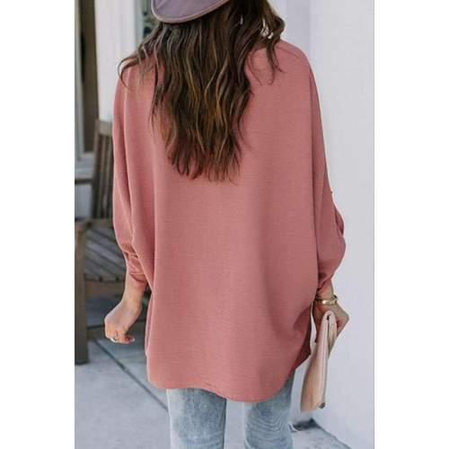 Fashion Casual Loose Pure V neck Long sleeve Irregular Blouses