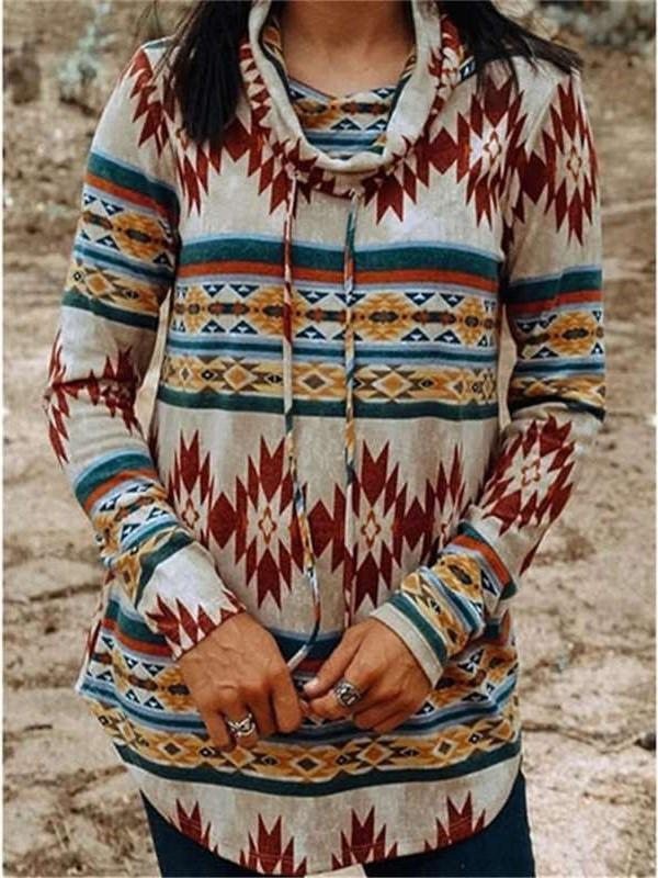 Fashion Casual Geometry print High collar Long sleeve Irregular Sweatshirts
