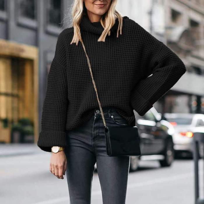 Fashion Casual Pure High collar Long sleeve Knit Sweaters