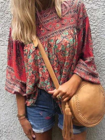 Casual Loose Retro print Round neck Long sleeve T-Shirts