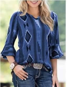Fashion Geometry print V neck Mandarin sleeve T-Shirts