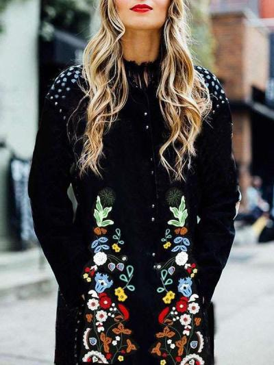 Fashion Casual Floral print Round neck Long sleeve Coats