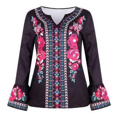Fashion Casual Retro print V neck Mandarin sleeve T-Shirts