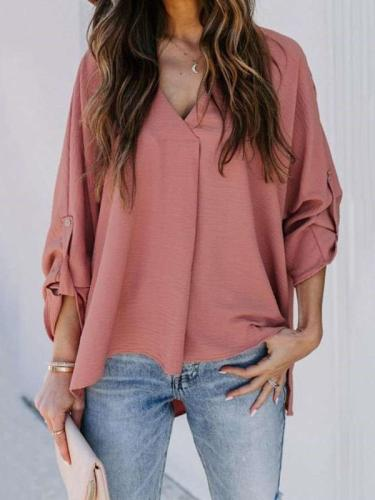 Fashion Casual Loose Pure V neck Long sleeve Irregular Blouses