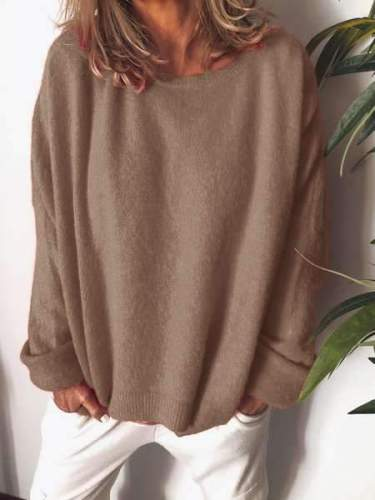 Fashion Casual Pure Round neck Lomh sleeve Knit Sweaters