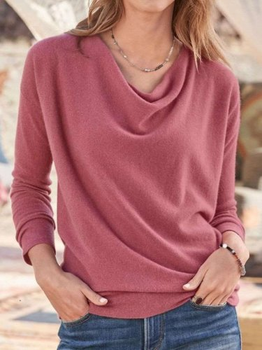 Fashion Pure Heaps Collar Long sleeve Knit T-Shirts