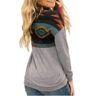 Fashion Gored Print High collar Long sleeve Hoodies Sweatshirts
