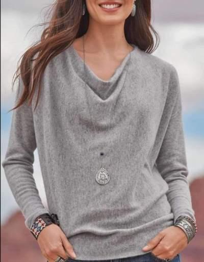 Fashion Pure Heaps Collar Long sleeve Knit T-Shirts
