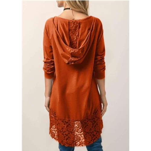 Casual Loose Pure Lace Gored Long sleeve Hoodie T-Shirts