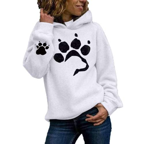 Fashion Paw print Long sleeve Hoodies Sweatshirts