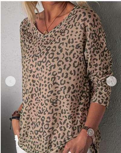 Fashion Leopard print V neck Long sleeve T-Shirts
