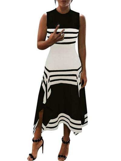 Fashion Round neck Sleeveless Stripe Big Hem Maxi Dresses