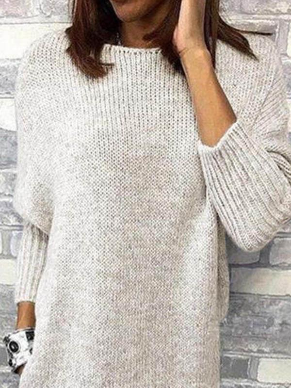 Women elegant round neck long sweaters
