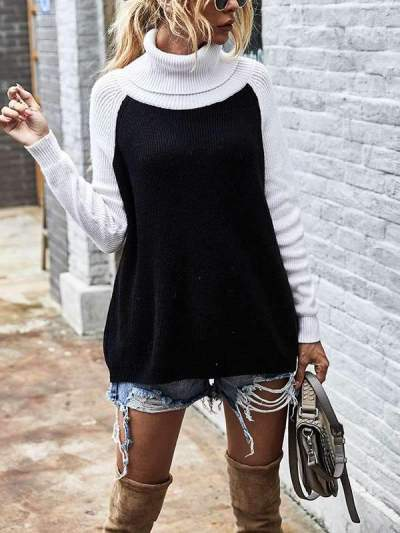 Colour blocking Turtleneck high neck chic women sweaters for women