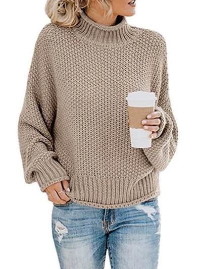 Loose high neck women warm knit sweaters