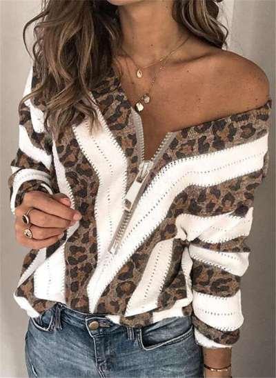 Fashion Stripe Zipper V neck Long sleeve Knit Sweaters