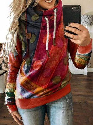 Fashion Casual Retro print Long sleeve Hoodies Sweatshirts