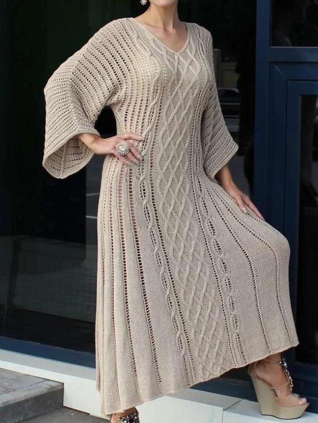 Fashion Casual Loose Pure V neck Long sleeve Knit Maxi Dresses