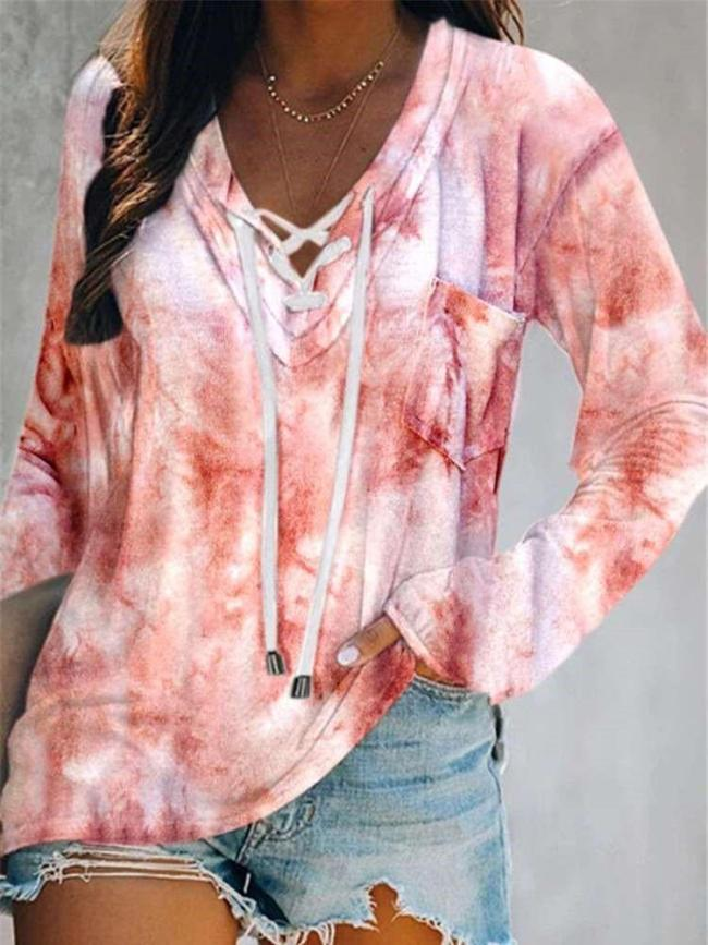 Casual Plangi Long sleeve Lacing Hoodies Sweatshirts