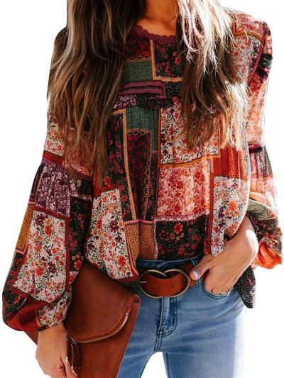 Fashion Casual Loose Bohemia  Round neck Puff sleeve Blouses