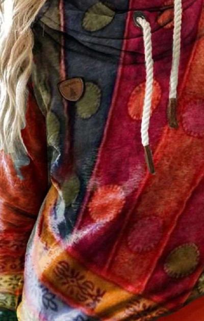 Fashion Casual Retro print Long sleeve Hoodies Sweatshirts