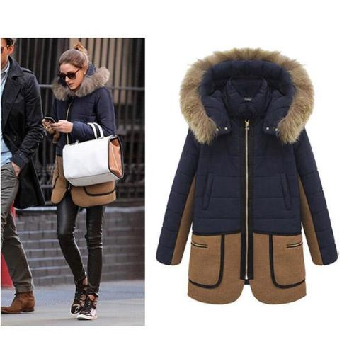 Free Shipping Slim Hoodie Thick Cotton Padded Long Coat Outerwear