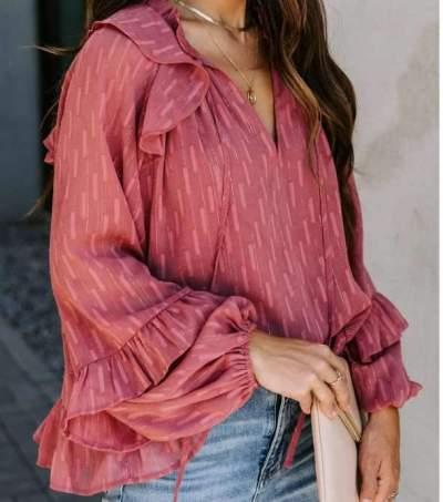 Fashion Casual Loose V neck Falbala Lacing Blouses