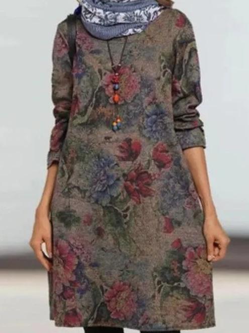 Casual Retro print Round neck Long sleeve Woolen Shift Dresses