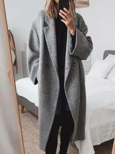 Fashion Pure Lapel Long sleeve Woollen Trench Coats
