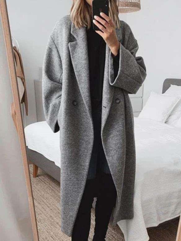 Fashion Pure Lapel Long sleeve Woollen Trench Coats
