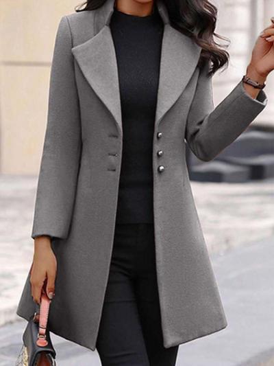 Fashion Pure Lapel Fastener Long sleeve Wool coat