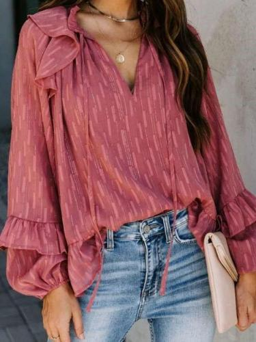 Fashion Casual Loose V neck Falbala Lacing Blouses