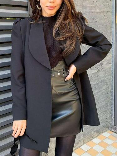 Fashion Pure Lapel Long sleeve Blazer Coats