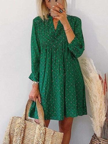 Fashion Casual Loose Print V neck Long sleeve Shift Dresses