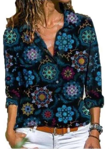 Fashion Casual Print V neck Long sleeve Blouses