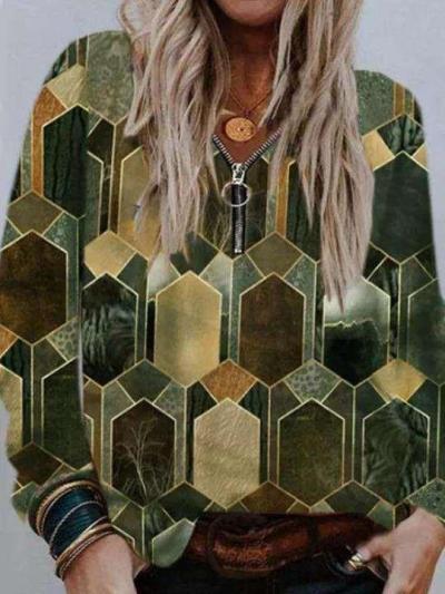 Casual Loose Geometry print Zipper V neck Long sleeve T-Shirts