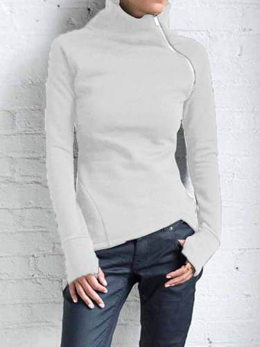 Women casual high neck zipper long sleeve sweatshirts tops