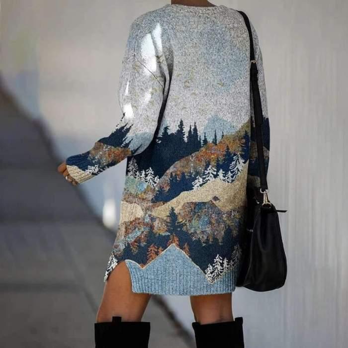 Fashion Landscape print Round neck Long sleeve Knit Shift Dresses