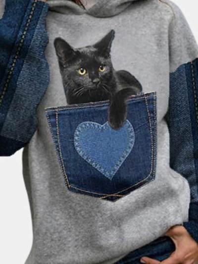 Casual Cotton-Blend Printed Hoodie Sweatshirts