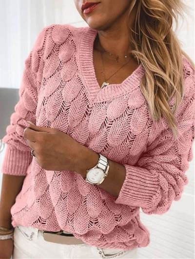 Knitted Long Sleeve v neck fashion women Sweaters