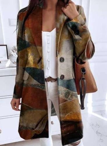 Fashion Retro print Lapel Long sleeve Fastener Coats