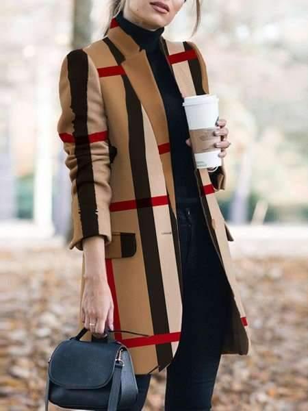 Fashion Plaid print Stand collar Long sleeve  Pockets Coat