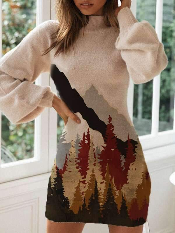 Sexy Landscape print High neck Long sleeve Knit Skater Dresses