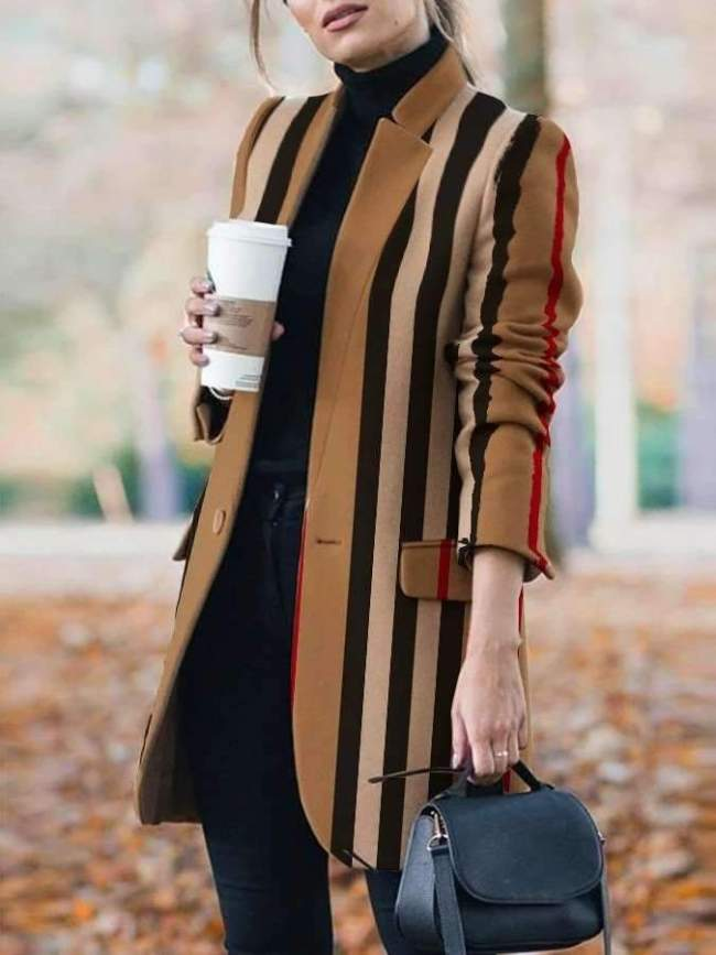 Fashion Stripe Stand collar Long sleeve  Pockets Coat