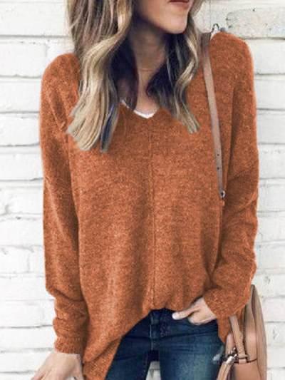 V-Ausschnitt Voll lockerer Pullover Chic Sweaters Tops