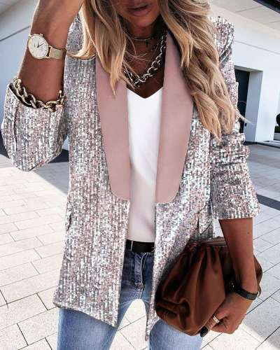 Fashion Lapel Long sleeve Double-breasted Blazer Coats
