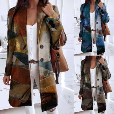 Fashion Retro print Lapel Long sleeve Fastener Coats