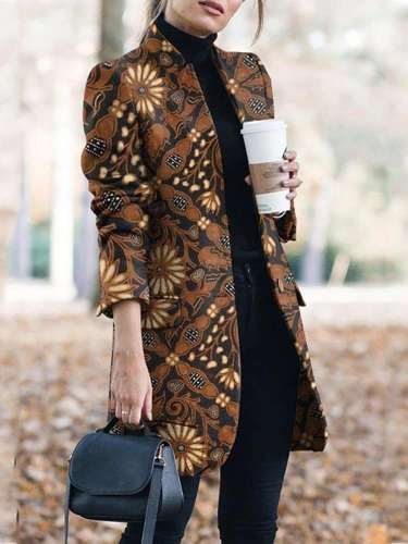 Fashion Retro print  Stand collar Long sleeve  Pockets Coat